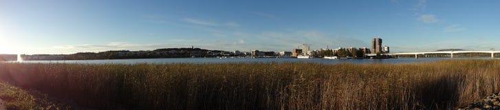 Sunset lakeside panorama (Jyvaskyla, Finland)  Stock Photos