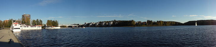 Harbour and lakeside panorama at sunset (Jyvaskyla, Finland) Royalty Free Stock Images