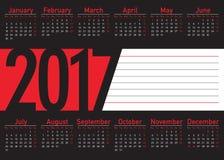 Języka angielskiego kalendarz 2017 horyzontalny Obrazy Stock
