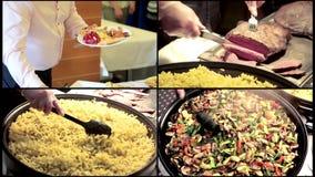 Köstliche Wanne der Collage rühren das gebratene bunte Frischgemüse, das vorbereitet wird Chef mischt Makkaroni in einer großen W stock video