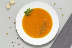 Kürbissuppe mit den Kräutern, Creme und Kürbiskernen gedient in der weißen Schüssel Saisonherbstnahrung - würzige Kürbissuppe stockbild