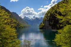 Königssee看法从湖的北部岸的 免版税库存照片