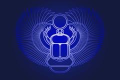 Käferscarabäus mit Flügeln, Sonne und einem sichelförmigen Mond Alte ägyptische Kultur Morgendämmerung Gott Khepri Sun Das Emblem Lizenzfreies Stockbild