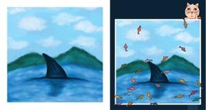 Käkar för hav för vattenfärgmolnberg Arkivbild