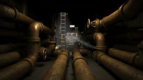Källare i fabrik eller någon industribyggnad Mörker och fasan gräver med det gamla och rostiga leda i rör systemet royaltyfri illustrationer
