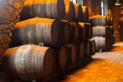 Källare med vinfat Arkivbilder