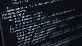 Källkod eller HTML-kod på skärmen av datoren arkivfoto