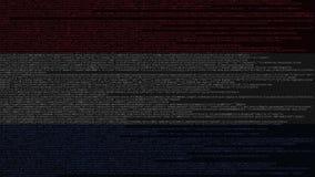Källkod och flagga av Nederländerna Holländsk digital teknologi eller programmera den släkta tolkningen 3D royaltyfri illustrationer