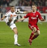 kämpar för uefa för den debrecen ligaliverpool matchen vs royaltyfria foton