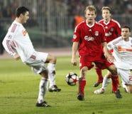 kämpar för uefa för den debrecen ligaliverpool matchen vs royaltyfri fotografi