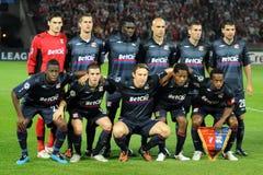 kämpar för uefa för den debrecen ligalyon matchen royaltyfria foton