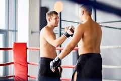 Kämpar som skakar händer i boxningsring Royaltyfria Foton