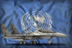Kämpe militärt jaktplan med PIXELstadskamouflage på bakgrunden för Förenta Nationernatillståndsflagga illustration 3d Royaltyfri Foto