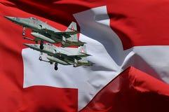 kämpeflaggaschweizare två Arkivbild