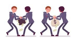 Kämpfen für einen Kasten und voll rausschmeißen des Geldes stock abbildung