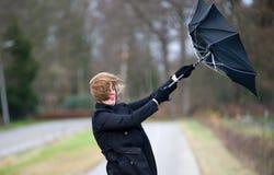 Kämpfen gegen den Wind Stockfoto