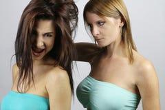 Kämpfen mit zwei sexy Mädchen stockfotos