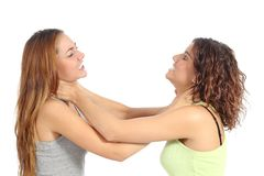 Kämpfen mit zwei verärgertes Frauen Stockfotografie