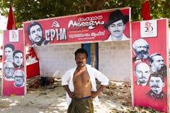 Kämpfen Sie während der Wahlen der kommunistischen Partei in Kerala Stockfotos