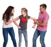 Kämpfende Eltern und Tochter Lizenzfreie Stockbilder