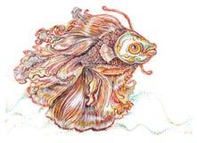Kämpfende Fische malen thailändisches einzigartiges Design der angewandten Kunst Stockfotos