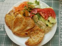 Kämpfende Korpulenz/gesunde Mahlzeit Stockbild