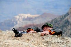 Kämpfender Fotograf Stockfotografie