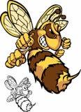 Kämpfendes Bienen-Maskottchen-Zeichen Lizenzfreies Stockfoto
