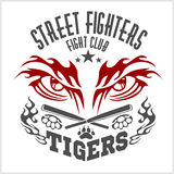 Kämpfendes Vereinemblem - Tiger Auge Aufkleber, Ausweise vektor abbildung