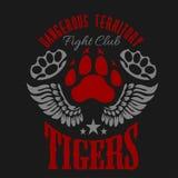 Kämpfendes Vereinemblem - Tigerabdruck und -flügel lizenzfreie abbildung