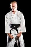 Kämpfer, der Karateposition durchführt lizenzfreie stockbilder