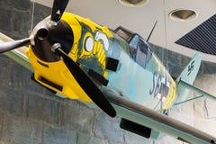 Kämpferflugzeug Me-109 benutzt durch Deutschland im Zweiten Weltkrieg im B Lizenzfreie Stockfotos