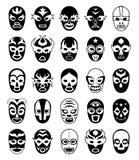 Kämpfermasken Mexikanische lucha libre Schattenbilder des Vektors maskierten luchador lokalisiert vektor abbildung