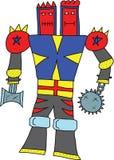 Kämpferroboter-Zwillingskopf über weißem Hintergrund. Stockbilder