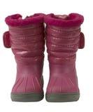 kängor isolerade waterproof rosa snow Royaltyfri Bild