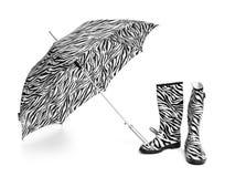 Kängor och paraply royaltyfri foto