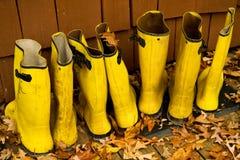 kängor rain yellow Fotografering för Bildbyråer