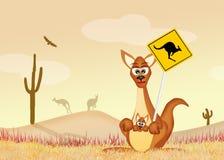 Känguru-Überfahrt lizenzfreie abbildung