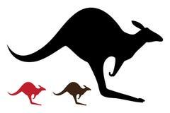 kängurusilhouettes Stock Illustrationer