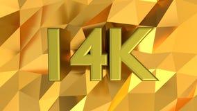 kännemärke 14K på guld- modellbakgrund arkivfoton