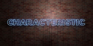 KÄNNETECKEN - fluorescerande tecken för neonrör på murverk - främre sikt - 3D framförd fri materielbild för royalty royaltyfri illustrationer