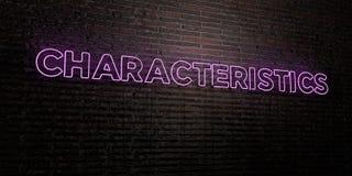 KÄNNETECKEN - realistiskt neontecken på bakgrund för tegelstenvägg - 3D framförd fri materielbild för royalty stock illustrationer