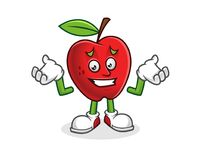 Känslig ledsen äpplemaskot Vektor av det Apple teckenet Apple Arkivbild