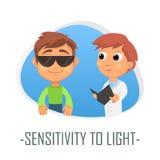 Känslighet till ljusläkarundersökningbegreppet också vektor för coreldrawillustration Royaltyfri Fotografi