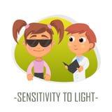 Känslighet till ljusläkarundersökningbegreppet också vektor för coreldrawillustration Fotografering för Bildbyråer