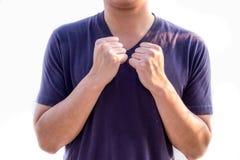 Känsligt kallt teckenspråk Arkivfoto