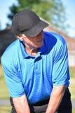 Känslolös manlig golfare med Golf Club arkivfoto