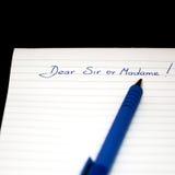 Kär herren eller skriftlig anmärkning för madamhand, bokstavshandstil Arkivbilder