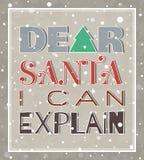 Kär jultomten kan jag förklara julaffischen Royaltyfri Fotografi
