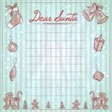 Kär jultomtenjulillustration med utrymme för text, önskelista, xmas-beståndsdelar och ram Arkivbilder